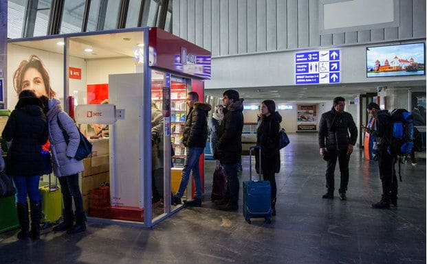 Киоск МТС в аэропорту